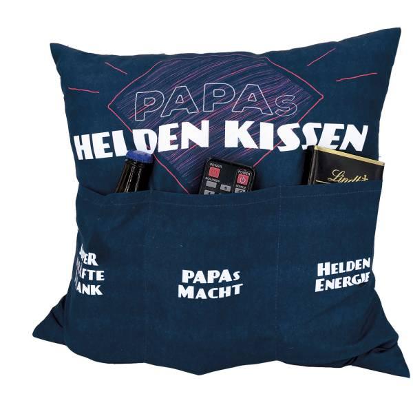 Papas Helden Kissen 43x43 Motiv Kissen Geschenk Hergo