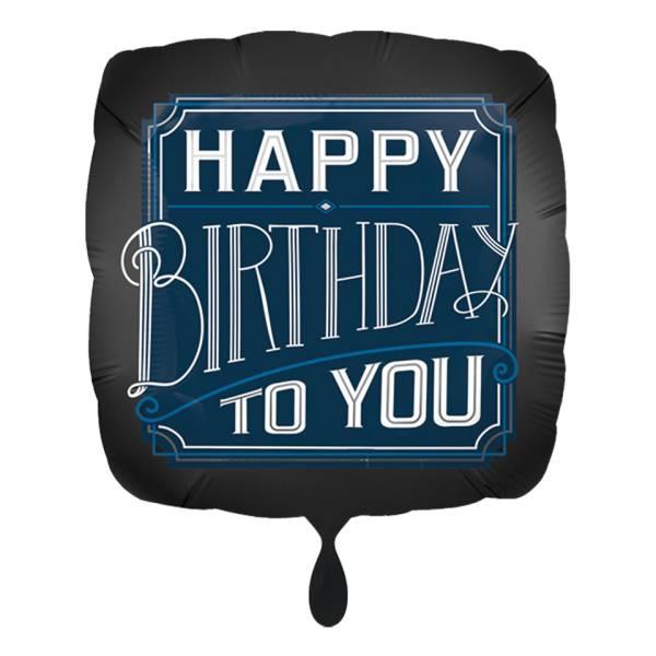 Folienballon Happy Birthday to You eckig schwarz 43cm Luftballon