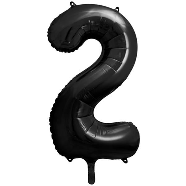 XXL Zahl 2 Schwarz Folienballon Luftballon