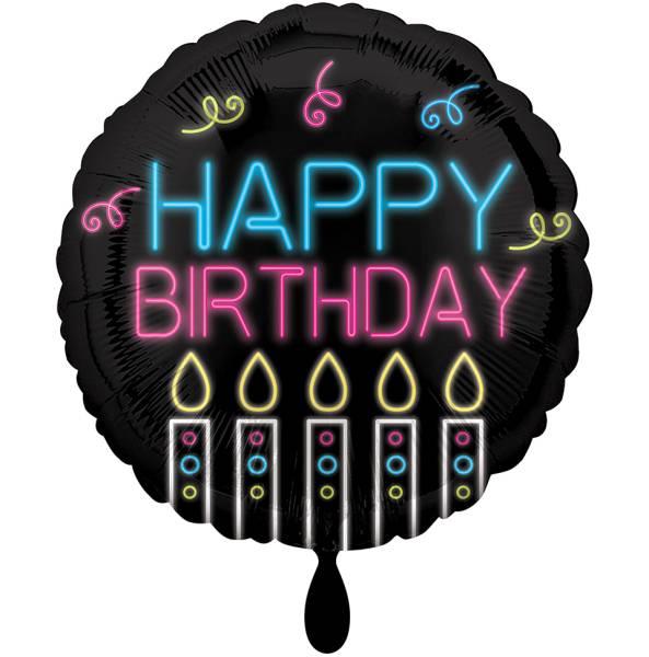Folienballon Happy Birthday NEON 43cm Luftballon