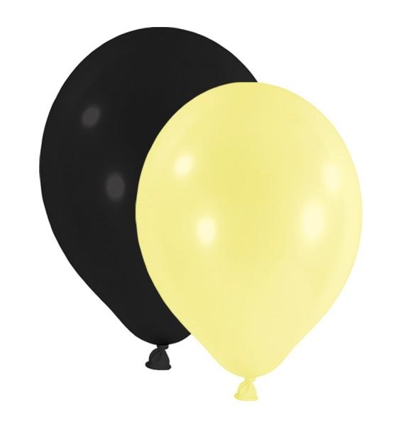 Luftballon Schwarz-Gelb Set Naturlatex D30cm rund