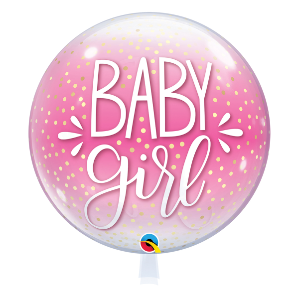Bubble Ballon Baby Girl pink Geburt Luftballon