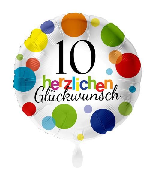 Rund Folienballon Zahl 10 Luftballon