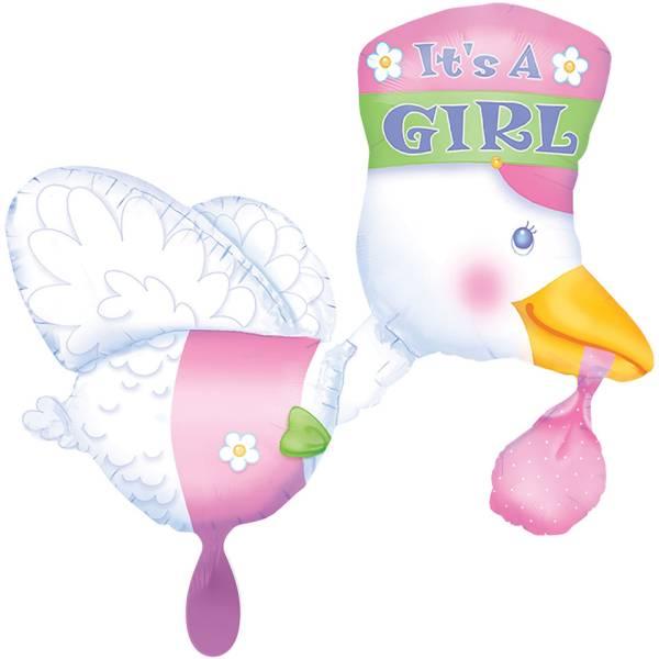 XL Storch It's a Girl Geburt rosa Luftballon
