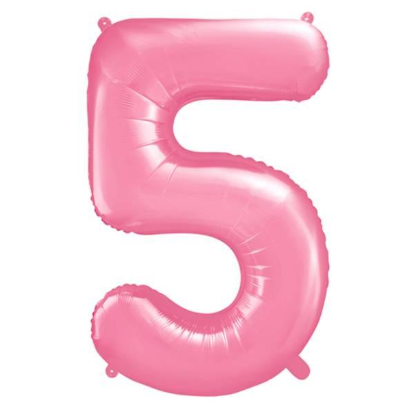 XXL Zahl 5 Pink Folienballon Luftballon