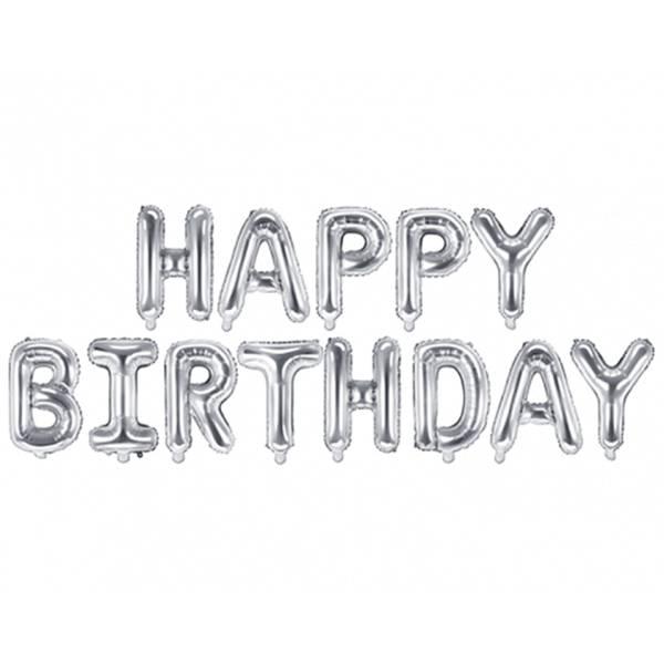 Girlande Happy Birthday Silber Buchstaben Luftballon