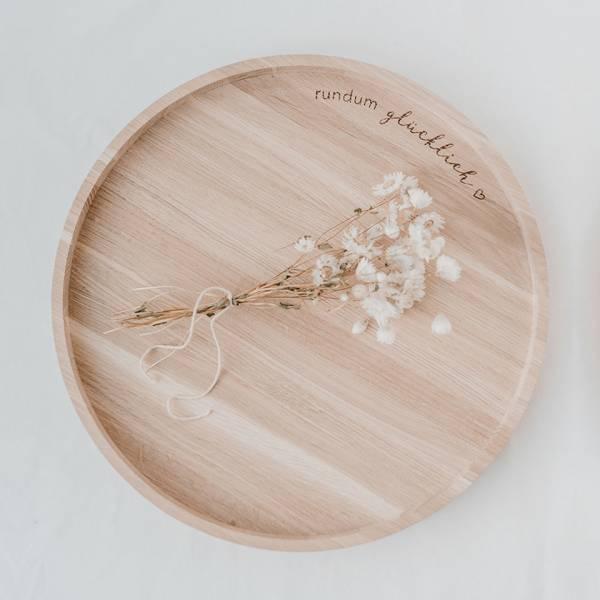 Holztablett rundum glücklich D36 cm Eulenschnitt