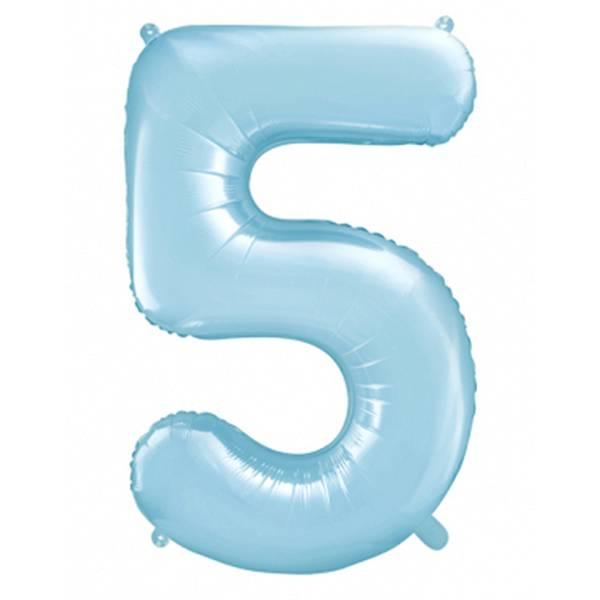 XXL Zahl 5 Himmelblau Folienballon Luftballon