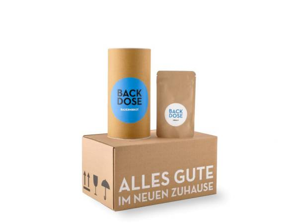 Brot & Salz Einzugsgeschenk Umzugskarton Geschenkbox Backdose