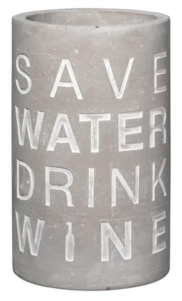 Weinkühler Beton Save Water Drink Wine Räder Design