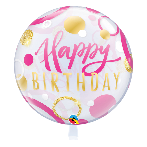 Bubble Ballon HAPPY BIRTHDAY Luftballon pink