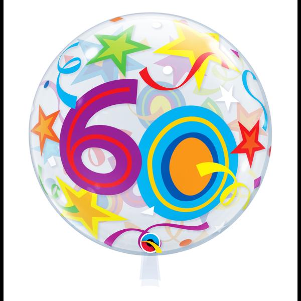 Bubble Ballon Zahl 60 Geburtstag Luftballon
