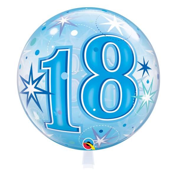 Bubble blau Zahl 18 Geburtstag Luftballon